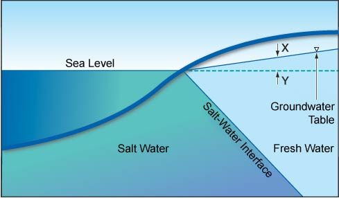 Salt-water interface in an unconfined coastal aquifer according to the Ghyben-Herzberg relation.